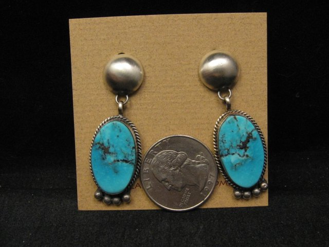 Image 1 of Navajo Native American Turquoise Silver Earrings, Selena Warner