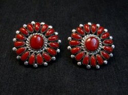 Lorraine Waatsa, Zuni, Red Coral Cluster Sterling Silver Earrings
