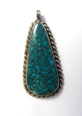 Image 0 of Vintage Native American Turquoise Silver Pendant