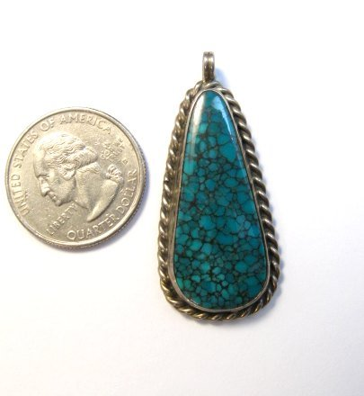 Image 1 of Vintage Native American Turquoise Silver Pendant