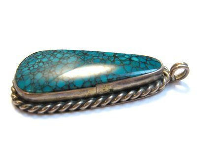 Image 2 of Vintage Native American Turquoise Silver Pendant