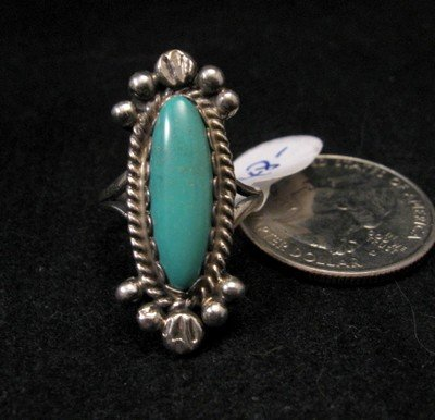 Image 2 of Old Navajo Native American Turquoise Silver Ring sz4-1/2