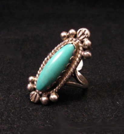 Image 1 of Old Navajo Native American Turquoise Silver Ring sz4-1/2