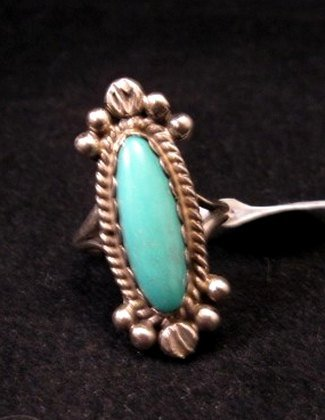 Image 0 of Old Navajo Native American Turquoise Silver Ring sz4-1/2