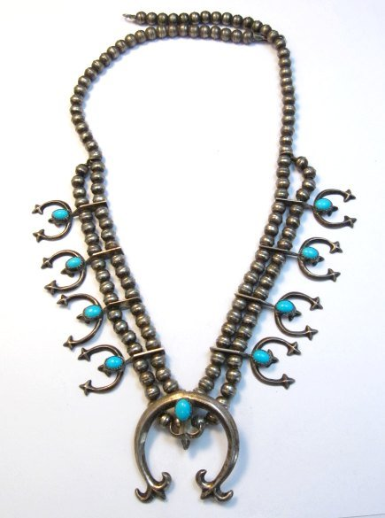 Image 9 of Petite Vintage Native American Turquoise Silver Naja Necklace