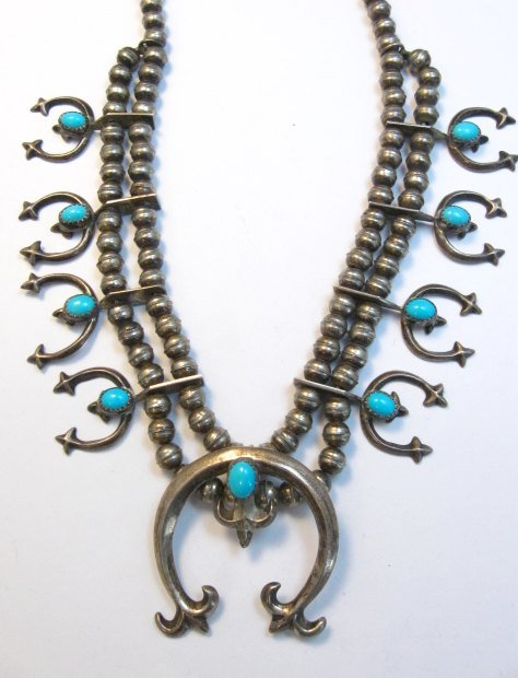 Image 1 of Petite Vintage Native American Turquoise Silver Naja Necklace