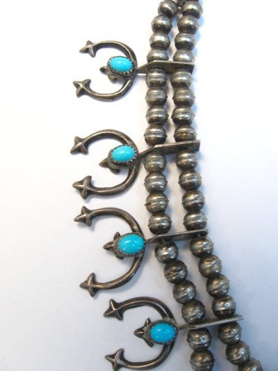 Image 3 of Petite Vintage Native American Turquoise Silver Naja Necklace