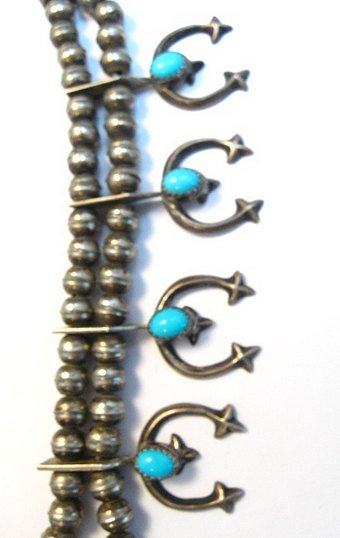 Image 4 of Petite Vintage Native American Turquoise Silver Naja Necklace