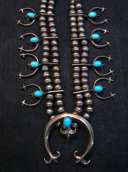 Image 8 of Petite Vintage Native American Turquoise Silver Naja Necklace
