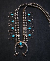 Petite Vintage Native American Turquoise Silver Naja Necklace