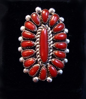 Image 0 of Lorraine Waatsa Zuni Coral Petitpoint Cluster Silver Ring sz7-1/2