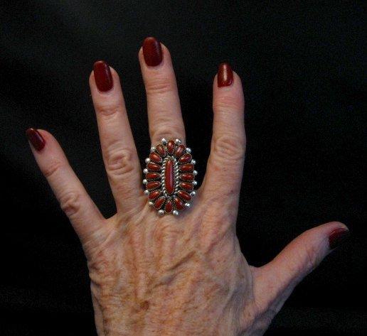Image 1 of Lorraine Waatsa Zuni Coral Petitpoint Cluster Silver Ring sz7-1/2