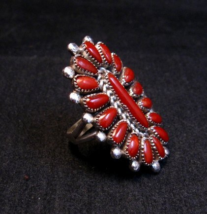 Image 2 of Lorraine Waatsa Zuni Coral Petitpoint Cluster Silver Ring sz7-1/2