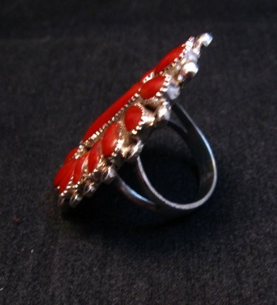 Image 3 of Lorraine Waatsa Zuni Coral Petitpoint Cluster Silver Ring sz7-1/2