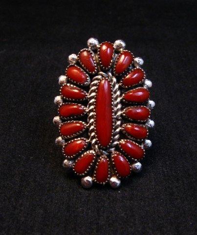 Image 5 of Lorraine Waatsa Zuni Coral Petitpoint Cluster Silver Ring sz7-1/2