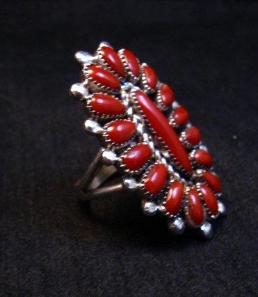 Image 1 of Lorraine Waatsa Zuni Red Coral Cluster Silver Ring sz8-1/2