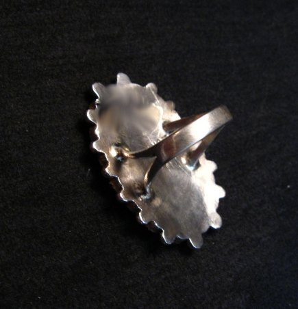 Image 4 of Lorraine Waatsa Zuni Red Coral Cluster Silver Ring sz8-1/2