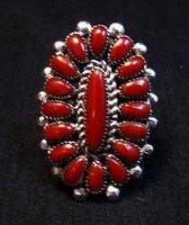 Lorraine Waatsa Zuni Red Coral Cluster Silver Ring sz8-1/2