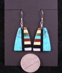 Kewa Turquoise Multistone Inlaid Earrings, Rudy & Mary Coriz, Santo Domingo