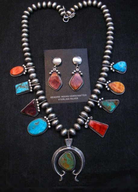 Image 0 of Selena Warner Navajo MultiStone Silver Naja Bead Necklace Earrings Set