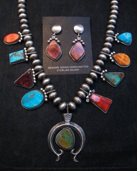 Image 1 of Selena Warner Navajo MultiStone Silver Naja Bead Necklace Earrings Set