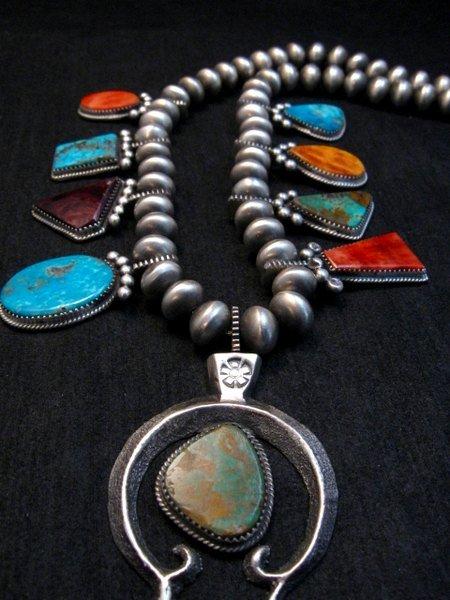 Image 2 of Selena Warner Navajo MultiStone Silver Naja Bead Necklace Earrings Set