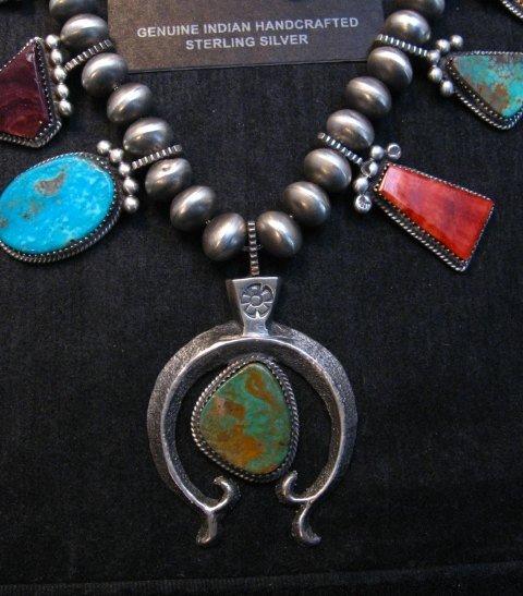 Image 3 of Selena Warner Navajo MultiStone Silver Naja Bead Necklace Earrings Set