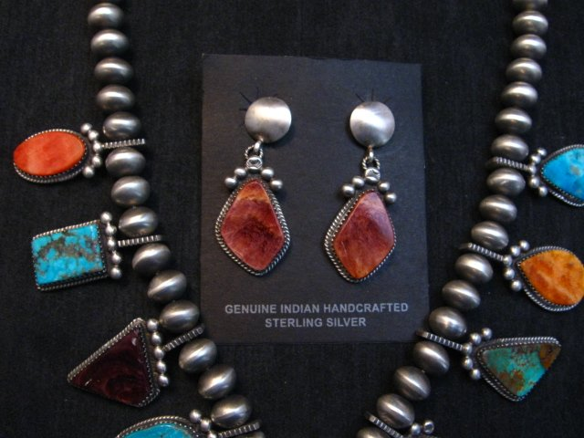 Image 4 of Selena Warner * Navajo * Old Style MultiStone Silver Naja Bead Necklace Earrings
