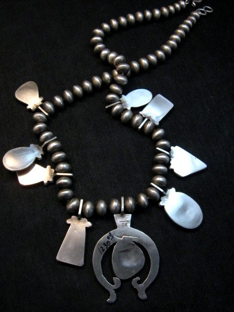 Image 6 of Selena Warner * Navajo * Old Style MultiStone Silver Naja Bead Necklace Earrings