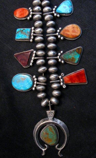 Image 8 of Selena Warner Navajo MultiStone Silver Naja Bead Necklace Earrings Set