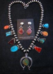 Selena Warner Navajo MultiGem Squash Necklace Earrings Set