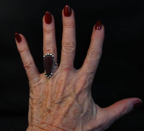 Image 3 of Navajo Purple Spiny Oyster Silver Ring by Selena Warner sz6-1/4