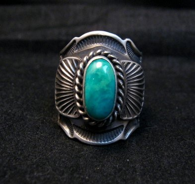 Image 0 of Navajo Andy Cadman Native American Turquoise Sterling Silver Ring sz7-1/2