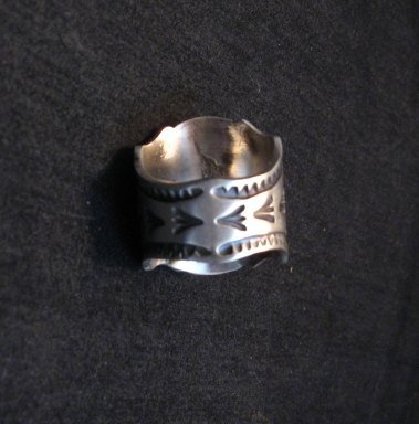 Image 4 of Navajo Andy Cadman Native American Turquoise Sterling Silver Ring sz7-1/2
