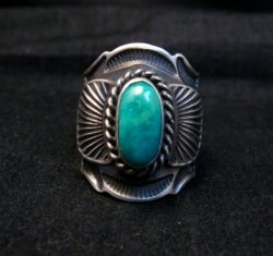 Navajo Andy Cadman Native American Turquoise Sterling Silver Ring sz7-1/2