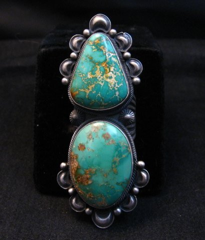 Image 0 of One-of-a-Kind Navajo Double Turquoise Sterling Silver Ring Derrick Gordon, sz7