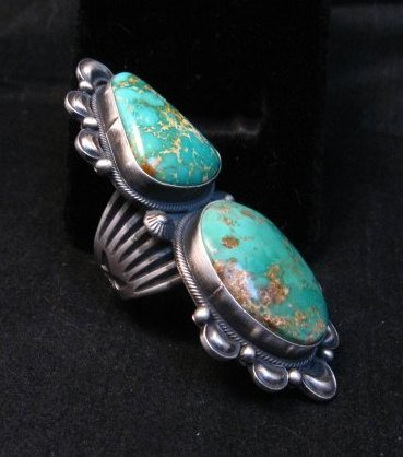 Image 2 of One-of-a-Kind Navajo Double Turquoise Sterling Silver Ring Derrick Gordon, sz7