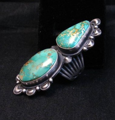 Image 3 of One-of-a-Kind Navajo Double Turquoise Sterling Silver Ring Derrick Gordon, sz7