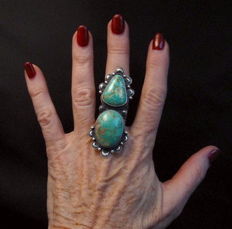 Image 1 of One-of-a-Kind Navajo Double Turquoise Sterling Silver Ring Derrick Gordon, sz7