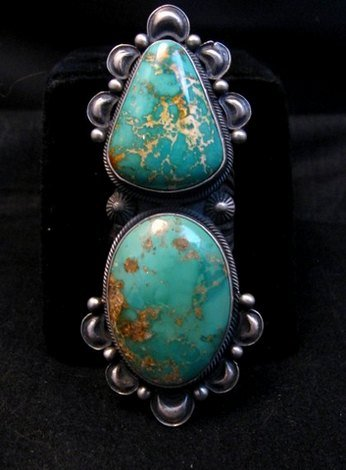 Image 6 of One-of-a-Kind Navajo Double Turquoise Sterling Silver Ring Derrick Gordon, sz7