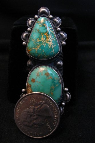 Image 7 of One-of-a-Kind Navajo Double Turquoise Sterling Silver Ring Derrick Gordon, sz7