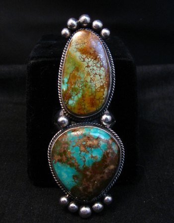 Image 2 of Huge Navajo Pilot Mountain Turquoise Silver Ring sz8-1/2 by Donovan Cadman