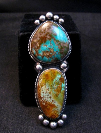 Image 0 of Huge Navajo Pilot Mountain Turquoise Silver Ring sz8-1/2 by Donovan Cadman