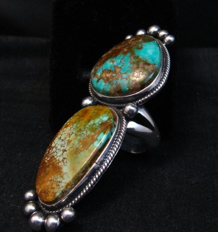 Image 3 of Huge Navajo Pilot Mountain Turquoise Silver Ring sz8-1/2 by Donovan Cadman