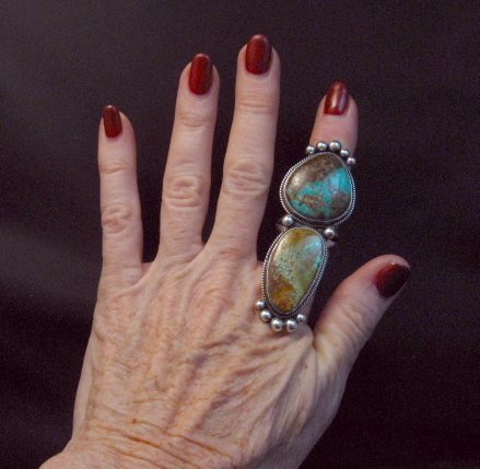 Image 1 of Huge Navajo Pilot Mountain Turquoise Silver Ring sz8-1/2 by Donovan Cadman