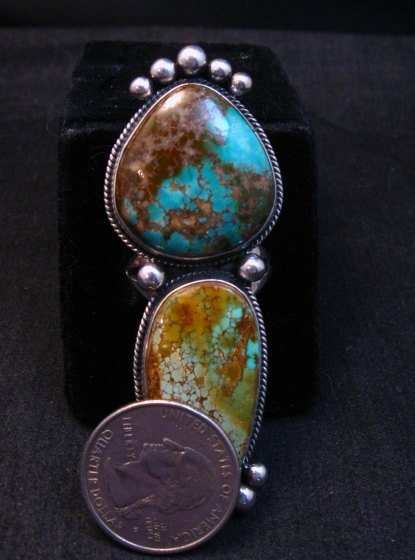 Image 7 of Huge Navajo Pilot Mountain Turquoise Silver Ring sz8-1/2 by Donovan Cadman