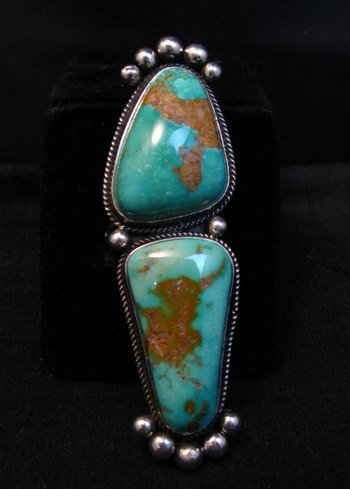 Image 0 of Awesome Navajo Donovan Cadman Double Turquoise Silver Ring sz6