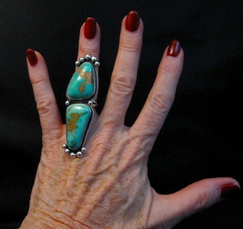 Image 1 of Awesome Navajo Donovan Cadman Double Turquoise Silver Ring sz6