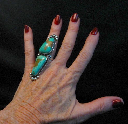Image 6 of Awesome Navajo Donovan Cadman Double Turquoise Silver Ring sz6