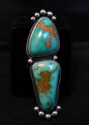 Awesome Navajo Donovan Cadman Double Turquoise Silver Ring sz6-1/4